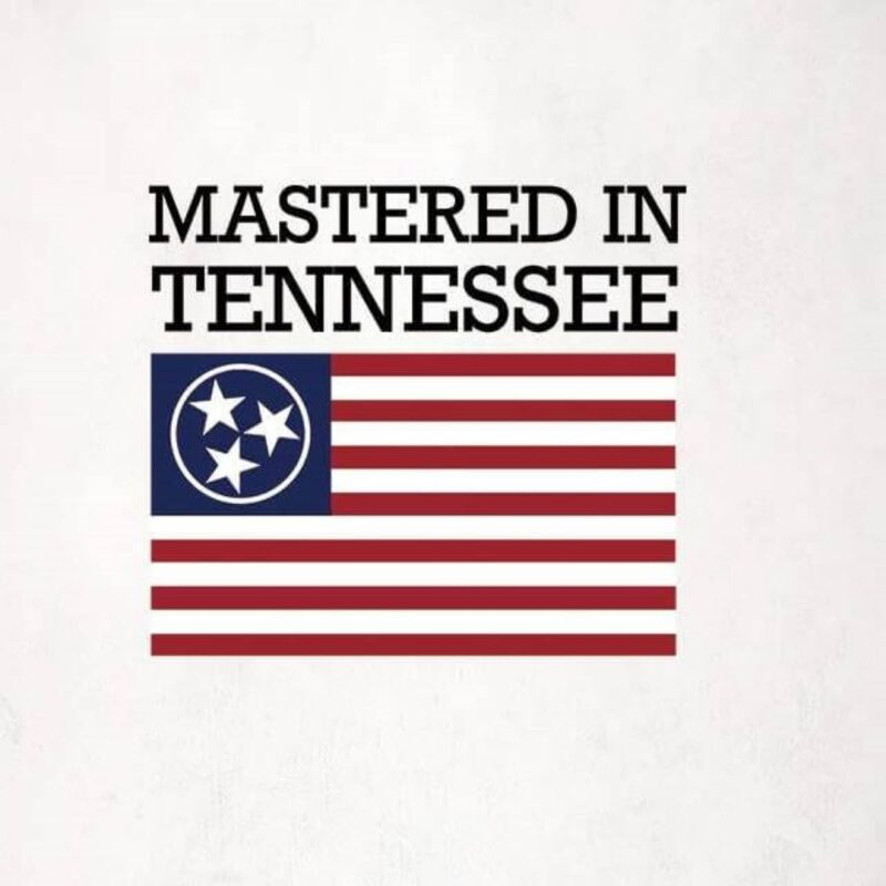 Mastered in Tennessee with flag